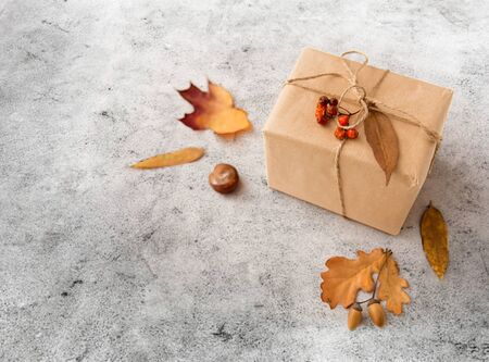 gift box, autumn leaves, acorns and rowanberry Banco de Imagens - 128427224