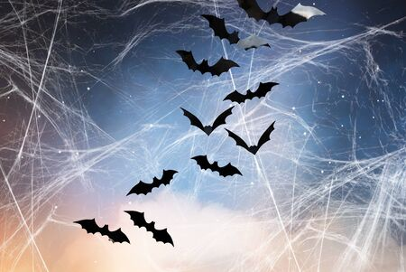 halloween, decoration and scary concept - black bats flying over starry night sky and spiderweb background