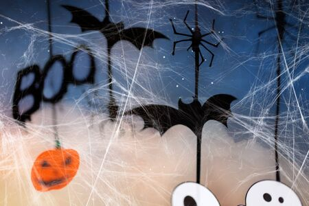 halloween party decorations and spiderweb