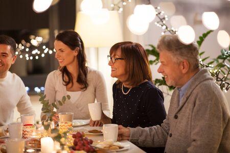 happy family having tea party at home Stockfoto