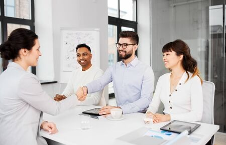 recruiters having interview with employee Stock Photo - 129028458