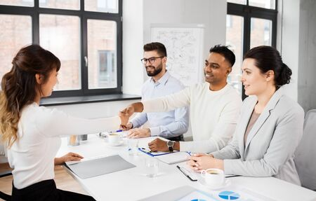 recruiters having interview with employee Stock Photo - 129090029