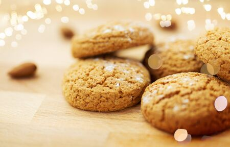 close up of oatmeal cookies on wooden table Stock fotó