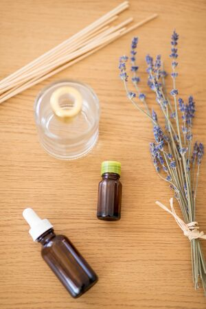 aroma reed diffuser, essential oil and lavender Stock Photo