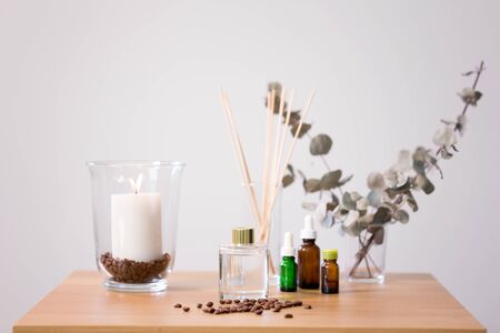 aroma reed diffuser, candle and essential oil