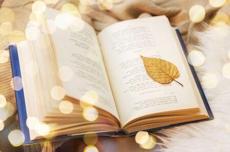 Réservez avec une feuille d'automne sur une couverture à la maison