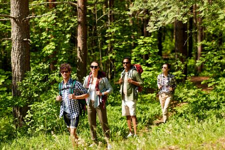 A group of friends walking with backpacks in forest