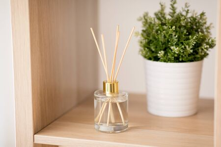 Aroma reed diffuse and pot flower on wooden shelf