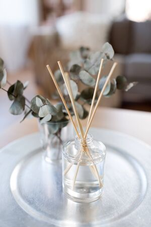Aroma reed diffuse and branches of eucalyptus  on table at home