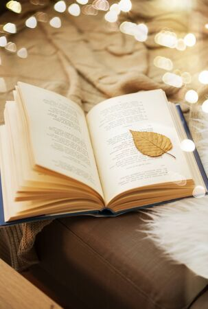 book with autumn leaf on page on sofa at home Standard-Bild