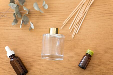 aroma reed diffuser, essential oil and eucalyptus
