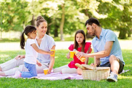 familie die sap drinkt op picknick in het zomerpark