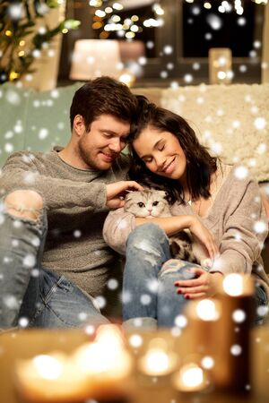 pets, christmas and people concept - happy couple with cat at home over snow