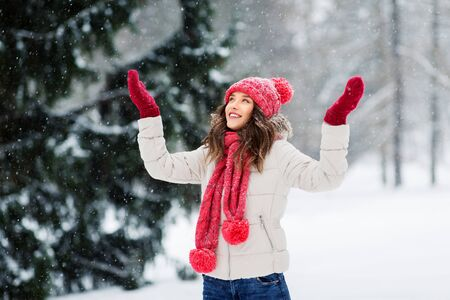 christmas, season and people concept - happy teenage girl or young woman in winter park