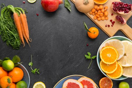 different vegetables and fruits on on slate table Stok Fotoğraf - 130587370