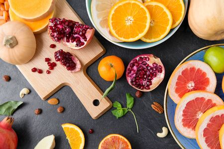 different vegetables and fruits on on slate table Stok Fotoğraf - 130587381