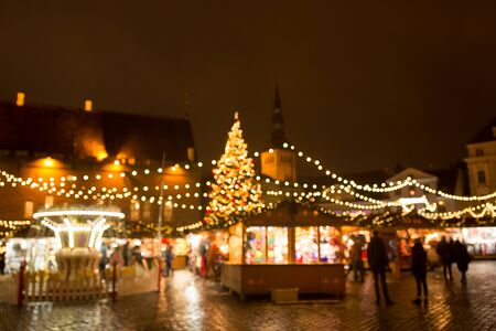 christmas market at tallinn old town hall square