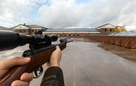 POV of male hands shooting with air rifle Stok Fotoğraf