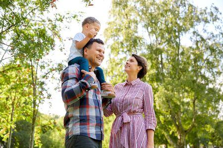 happy family having fun at summer park