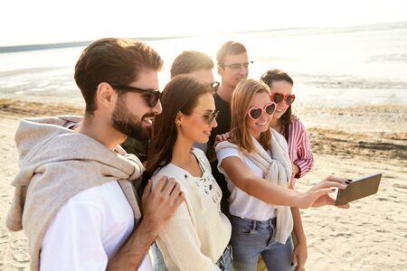 happy friends taking selfie in summer Stock fotó