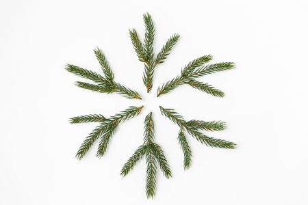 christmas snowflake shape made of fir branches