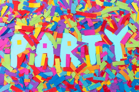 word party made of confetti decoration on blue