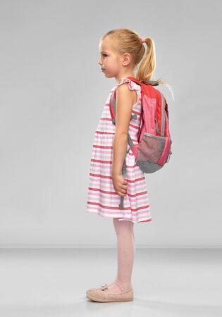 happy student girl with school bag