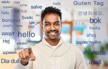 indian man over words in foreign languages