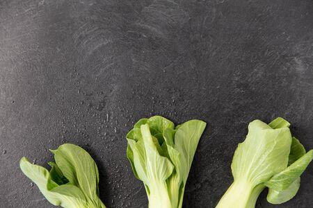 close up of bok choy cabbage on slate background Stock Photo