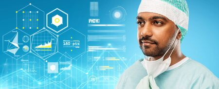 medicine, surgery and people concept - close up of indian male doctor or surgeon with protective mask over virtual charts projection on blue background