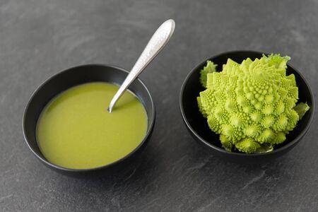 close up of romanesco broccoli cream soup in bowl