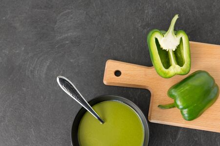 green pepper or paprika cream soup in bowl