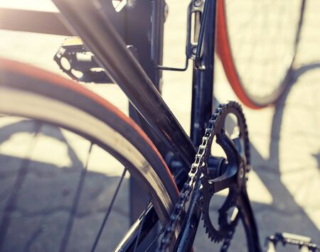 close up of fixed gear bicycle on city street 写真素材