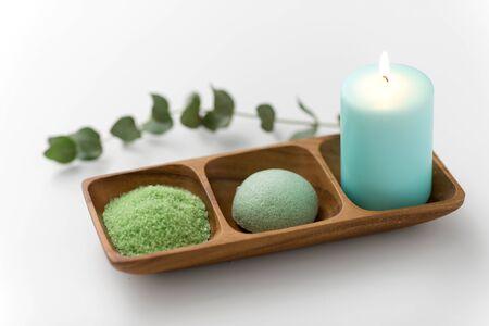 bath salt, konjac sponge, candle and eucalyptus