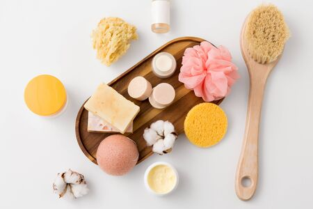 crafted soap, sponges, brush and natural cosmetics