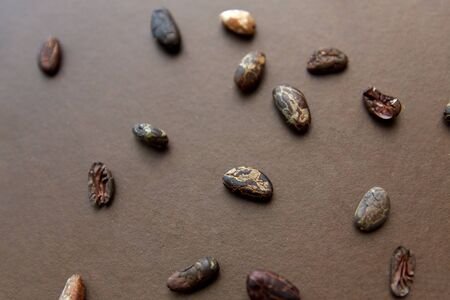 cocoa beans on brown background