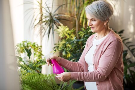 happy senior woman spraying houseplants at home Stock fotó