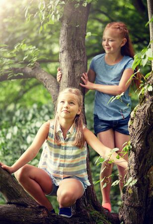 two happy girls climbing up tree in summer park Stock Photo