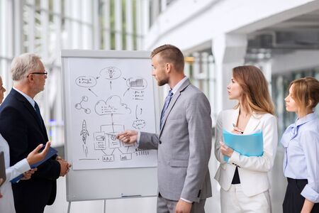 business team with scheme on flip chart at office Stock fotó