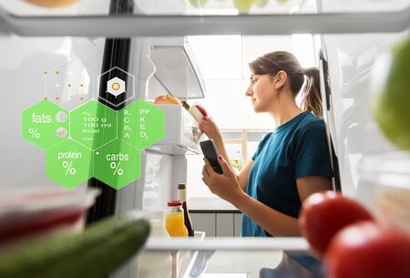 woman with smartphone and food at fridge