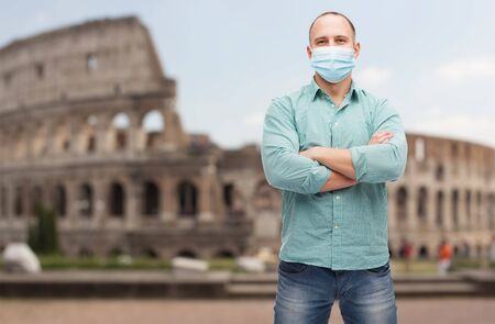 man wearing protective medical mask in italy