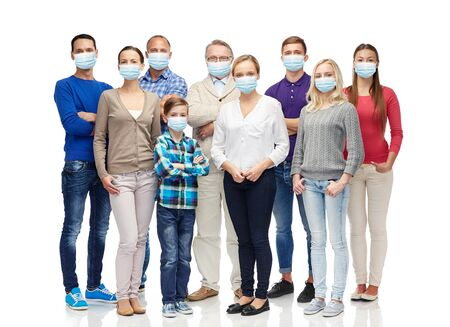 group of people of different age in medical masks Banco de Imagens