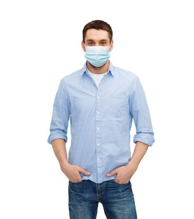 young man in protective medical mask