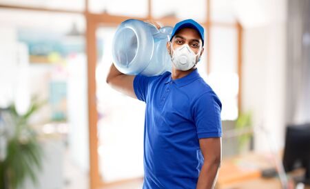 delivery man with water barrel in respirator