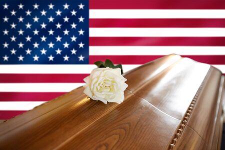 white rose on wooden coffin over flag of america Standard-Bild