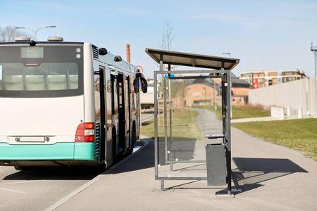 empty bus stop on street of Tallinn city Zdjęcie Seryjne