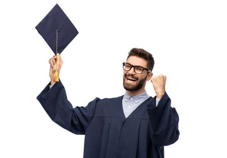 happy graduate student with mortar board