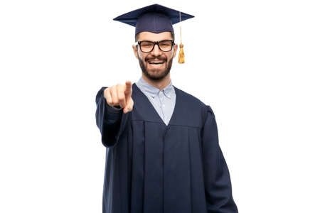 happy smiling graduate student pointing to you