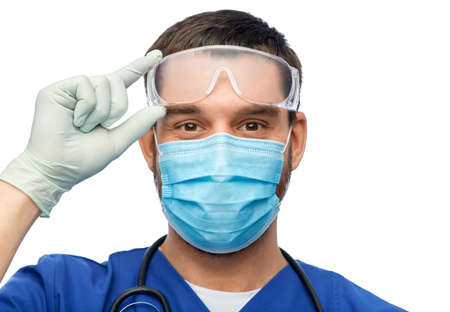 male doctor in goggles, mask and gloves