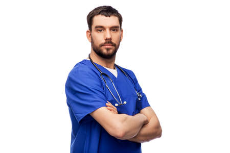 doctor or male nurse with stethoscope 스톡 콘텐츠